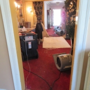 Water Damage - 2nd level tub overflowed. Water damage to dining area ceiling.